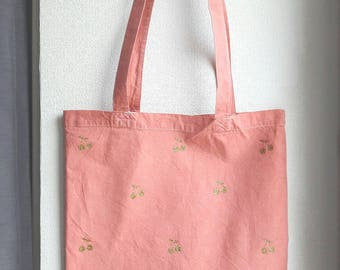 Tote bag pink terracotta and Golden cherries