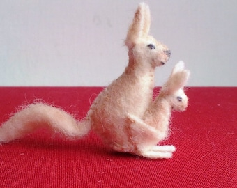 Tiny Kangaroo -- mini felt figurine - miniature kangaroo plush by Moss Mountain