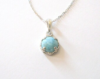 Larimar Petite Pendant, Light Aqua Blue and White Gemstone, Sterling Silver Necklace, 16 or 18 Inches