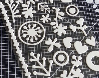 Stickers stickers - flowers, foliage and curly white wooden Relief