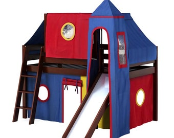 Twin Deluxe Loft Bed with Slide, Blue/Red/Yellow Curtain, Tower and Top Tent