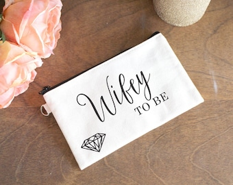 Wifey to Be Makeup Bag - Gift for Newly Engaged - Bridal Shower Gift - Wedding Makeup Bag - Wedding Trinket Pouch - Small Wedding Gift
