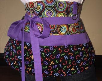 Purple and Black School Half Waist Pocket Apron