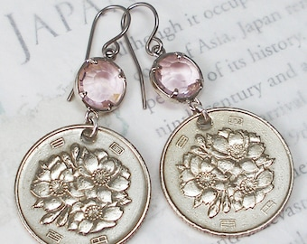 Japan, Vintage Coin Earrings --- Cherry Blossom Festival --- Hanami - Sakura - Spring Flowers - Celebrate Spring - Japanese Garden - Asia