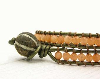 Peach Jade & Olive Leather Eco Friendly Wrap Bracelet / Fossilized Coconut Wood Bohemian Gemstone Wrap Bracelet / Woodland Green Salmon Silk