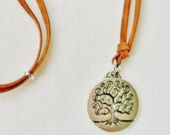Tree of Life Pendant on Genuine Suede Cord with Matching Earrings