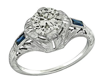 Art Deco 0.90ct Diamond Engagement Ring