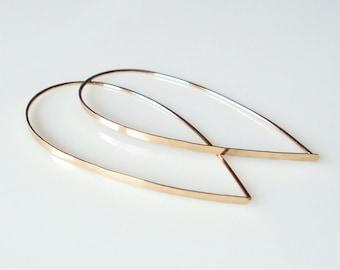 Flat Front Gold Hoop Earrings, Large Teardrop Hoops, Threader Earrings