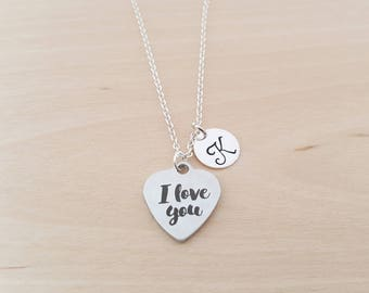 I Love You Necklace - Heart Charm - Personalized Necklace - Custom Initial Necklace - Silver Necklace