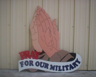 Patriotic Praying Hands Pray for Our Military USA 4th Fourth of July Americana Yard Art Lawn Decoration
