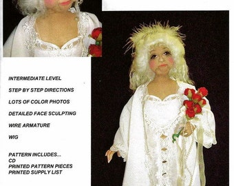 "Rose, Wedding Night 18"" Nylon Stocking Doll Pattern CD~Caroline Erbsland Signed"