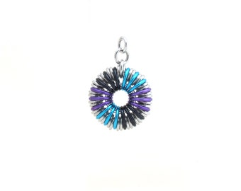 Chain Maille Pendant, Multicolor Jewelry, Jump Ring Jewelry, Round Pendant
