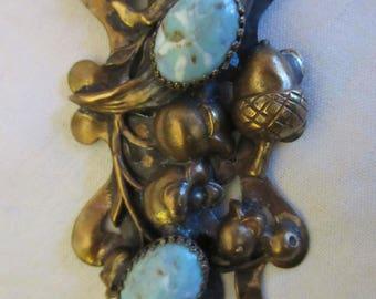 Vintage ART NOUVEAU Brass Acorns (w/ resin aqua cabochons) Dress Clip / Brooch