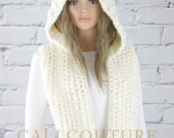 Crochet Hooded Scarf Pattern - Vancouver Hooded Infiity Scarf Pattern #31 - Crochet Scarf PATTERN - Digital Download - Not a Physical Scarf!