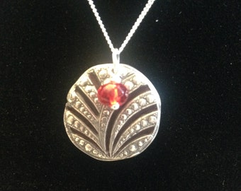 99.9% Fine Silver Pendant with faceted red Czech glass bead, Art Clay silver pendant, Ready to ship