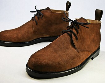 Handmade Men's brown suede boots, men's leather boots, men's brown boots, chukka boots, desert boots, men's leather shoes, custom shoes