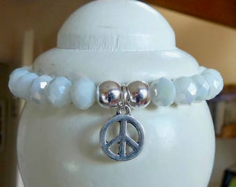 Elastic, beads, rondelle, faceted, glass, Crystal, white, iridescent, silver, charm bracelet, Peace Medallion