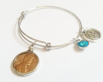 70th Birthday Gift 1948 Bracelet Birthstone Happy Birthday Gift US Penny Bracelet Expandable Bangle initial charm  Coin Jewelry