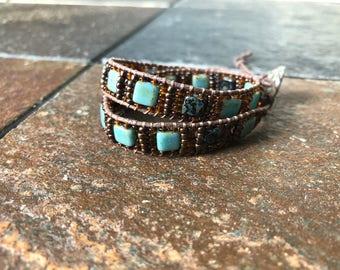 Turquoise and bronze wrap bracelet, Hemp Wrap Bracelet, Beaded Wrap Bracelet, Hemp Bracelet, Beaded Bracelet, Bracelet