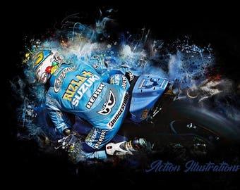 Motorcyle Art, Racer Loris Capirossi Rizzla Suzuki Fine art print.