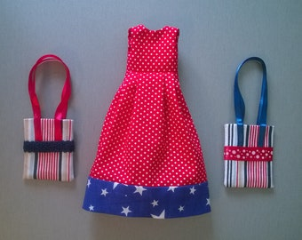 Fashion doll apparel American girl red blue 16 inches doll clothing birthday present Game textile ooak clothes doll Wardrobe doll outfit