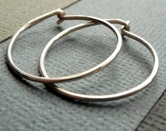 Small Sterling Silver Hoop Earrings. Modern Contemporary Simple Sleek Elegant Design.