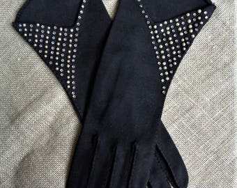 Vintage Gloves Black Rhinestone and Pearl Studded Cotton Elvette 1950s Size 6-1/2