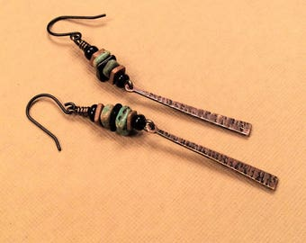 Rustic Dangles / Organic Jewelry / Boho Earrings / Stacked Earrings / Handmade / Gift for Her