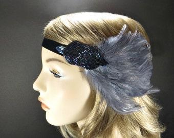 1920s Headpiece, Great Gatsby Headband, Flapper, Art Deco, Blue Beaded Headband Gray Feather Fascinator