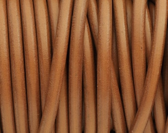 Cognac 5MM Round Leather Cord - Cognac  - 2ft/24""