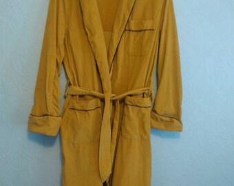 Mens Darwin Golden Brown Fine Wale Corduroy Robe S M Vintage 60s Made in Japan
