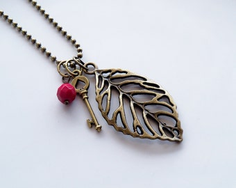 Leaf Charm Necklace - You Choose Bead And Charm - Antique Brass Charm Necklace - Custom - Filigree Leaf - Ball Chain - Everyday Jewelry