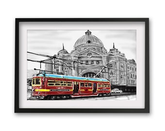 Melbourne Flinders street station BW with Red tram Travel Print/ Poster