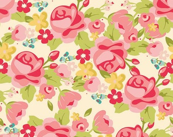 Roses on Cream Hello Gorgeous Fat Quarter Cotton Fabric by Riley Blake (UK)