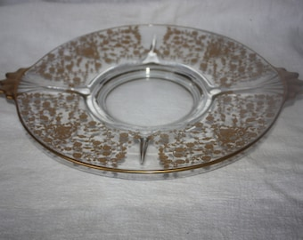 Vintage Glass with Gold Gilt Floral Cake Plate or Platter