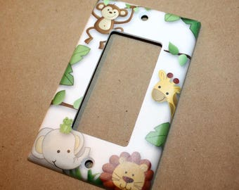 Jungle Animals Gender Neutral Nursery Bedroom Single Light Switch Cover LS0027