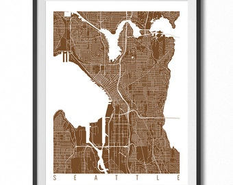 SEATTLE Map Art Print / Washington Poster / Seattle Wall Art Decor / Choose Size and Color