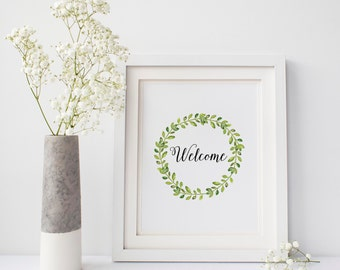 Welcome Wreath Sign, Welcome Sign Entrance Wall Decor, Welcome to our Home Guest Room Decor, Watercolor Wreath Welcome Printable Wall Art