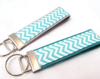 Wristlet Key Fob Key Chain - Mini Aqua & White Chevron Zig Zag Stripe - Fabric Keychain