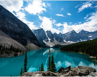 Beautiful Nature Picture Emerald Moraine Lake Turquoise Water Pines 24x36