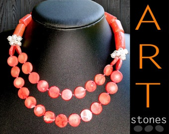 Red Coral Necklace\Red Coral Bead Necklace\Natural Coral Necklace\Red Coral pearl Beads\Boho Chic Necklace\Artisan Necklace chunky coral