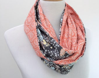 Spring Cotton Scarf, Cotton Infinity Scarf, Coral Circle Scarf for Women, Gray Lightweight Scarf, Floral Cotton Scarf, Gift for Her under 50