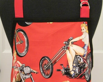 MENS APRON-Classic-Pin-Ups & Motorcycles Men's Chef Style/BBQ Apron