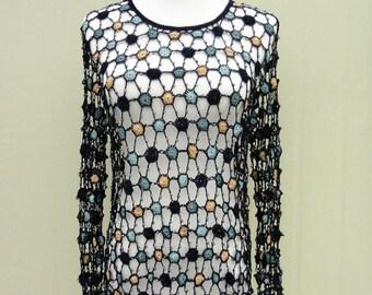 Long Sleeve Crochet Polka Dot Blouse