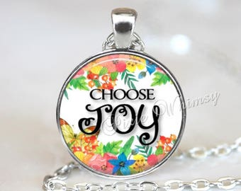 Joy pendant etsy choose joy necklace joy pendant joy keychain quote necklace quote pendant aloadofball Gallery