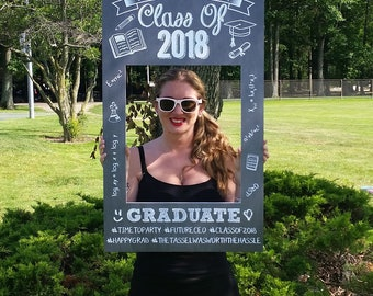 Graduation Selfie Frame, Chalkboard Photo Prop Poster Sign, Selfie Board, Class of 2018, Graduation Party, Digital Download, Printable
