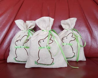 3-pack set Easter motive,Handmade,Unique Product,linen fabric,ribbon light green,Easter Present,Easter decoration,Easter bunny,Spring deco