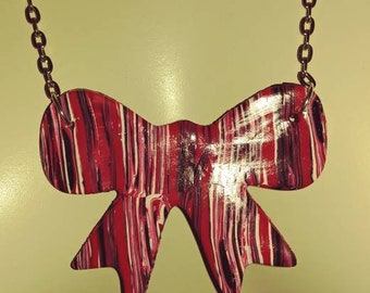 Marbled Bow Necklace Rockabilly Pin-up handmade polymer clay pendant