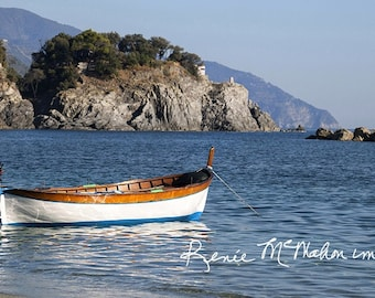 Italy photo, Nautical decor, Cinque Terre print, boat photo, beach art, panoramic print, home decor, office decor, large wall art