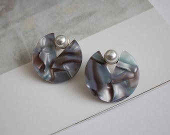 Marble round earrings, Marble pettern, Costume jewellery
